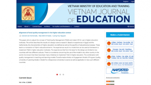 Hệ thống xuất bản tạp chí mở vje.vn theo chuẩn quốc tế của Vietnam Journal of Education